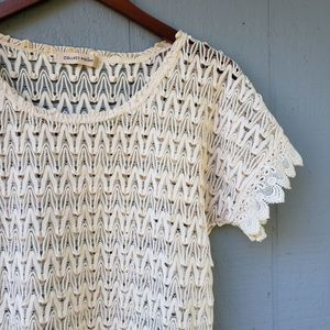 Collect Point Woven Short Sleeve Overlay Top Small